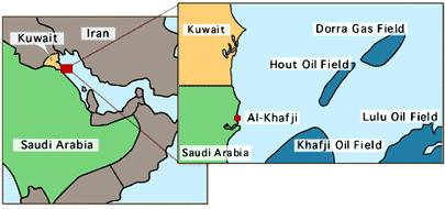 Image result for Al-Khafji oilfield, map