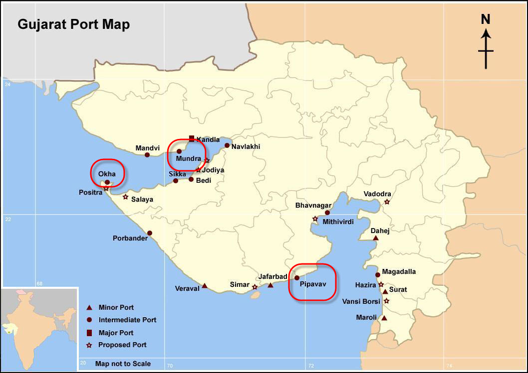 Gujarat_Mundra_and_Pipava_LNG Terminal_Projects_Map